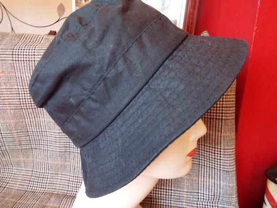 Vintage Barbour country wax navy blue hat  High quality from a top clothing brand and made in England  Fully waterproof wax cotton with a cotton