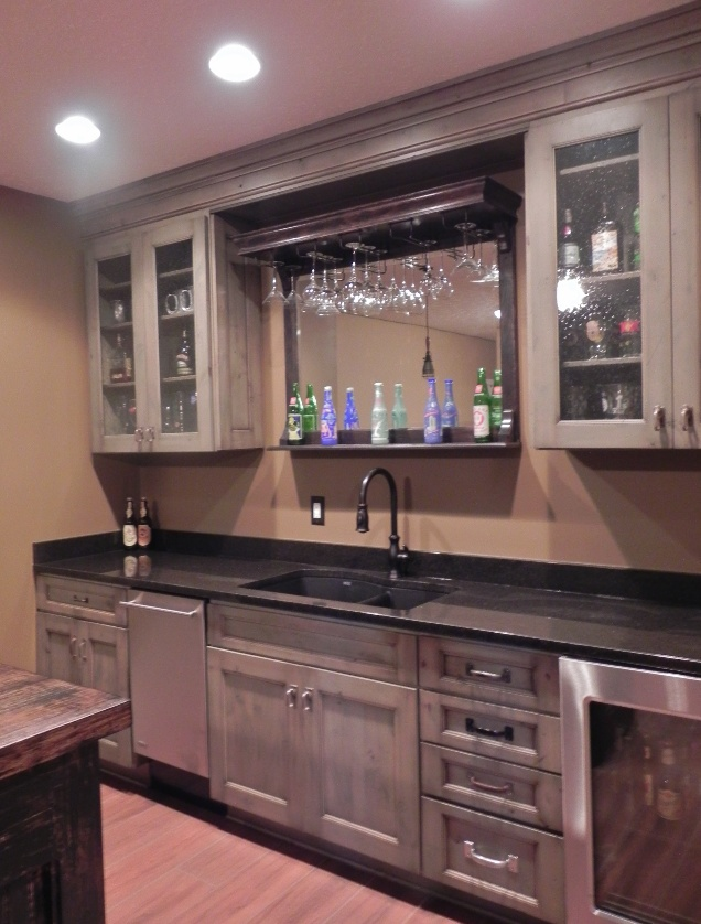 Elegant Basement Bar Has Wine Cooler, Granite Counters, And Distressed White  Cabinets