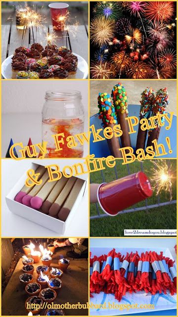 Ol Mother Hubbard: Guy Fawkes Party/Bonfire Bash part 1 Flared cupcakes, liquid firework science, edible chocolate sparklers, shortbread matches, sparkler hand guard, charcoal bonfire pots, red liquorice dynamite sticks.