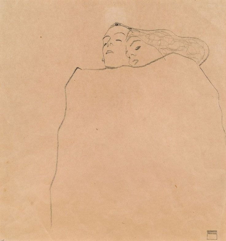 Egon Schiele, Schlafendes Paar [Sleeping Couple], 1909. Pencil on paper, 32 x 30 cm.