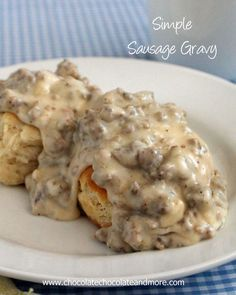 Simple Sausage Gravy and Biscuits-a Southern Favorite! Substitute Gluten free flour, or gluten free bisquick for an easy GF conversion!