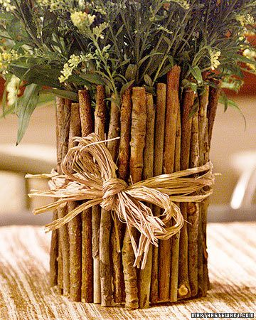 Image result for twig covered vases