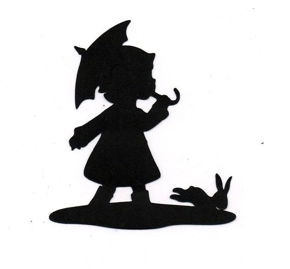 NEW design girl with umbrella Silhouette die cut for scrap booking or card making