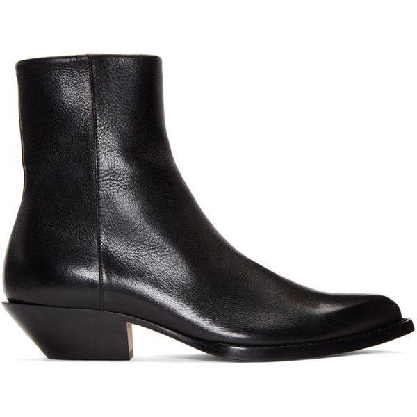 3ed6f5fe8ff9c Maison Margiela Black Santiag Boots (€905) ❤ liked on Polyvore featuring  men's fashion