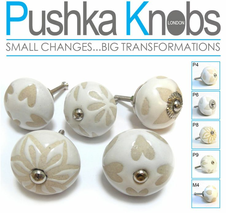 Pomelli Porte Pushka Knobs- Vintage Color Crema Fiori In ceramica
