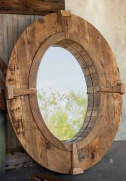 foyer option Rustic Oval Wooden Farm Mirror with Wood Frame and Decorative Wood Compass Points
