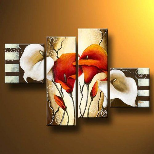 Wieco Art -Scents of Callas-Stretched and Framed Oil Paintings 100% Hand-painted Modern Canvas Wall Art Decor for Wall Decoration Floral Oil Paintings on Canvas 4pcs/set - Click image twice for more info - See a larger selection of wall paintings at http://www.zbestsellers.com/level.php?node=106&title=oil-paintings - home, home decor, home ideas, wall decor, oil paintings, gift ideas Item# 1516