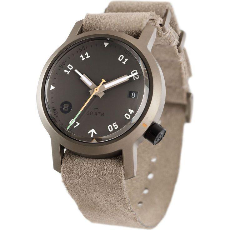 Minus-8 Anza Black Field Watch | Desert Sand Suede P024-017-2Strap-DSB
