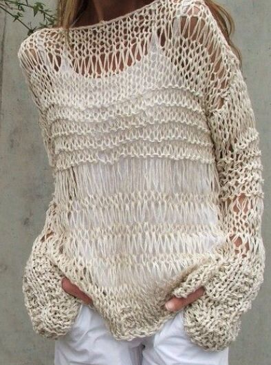 ivory sweater / Loose knit sweater / white sweater / loose knit Cotton Sweater…