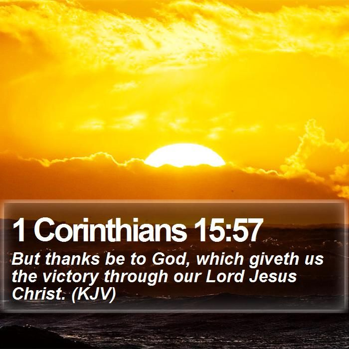 1 Corinthians 15:57 But thanks be to God, which giveth us the victory through our Lord Jesus Christ. (KJV) #Believe #Believe #PraiseJesus #WordOfLife http://www.bible-sms.com/