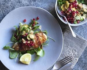 ... with walnut, green olive and pomegranate relish from Bill Granger