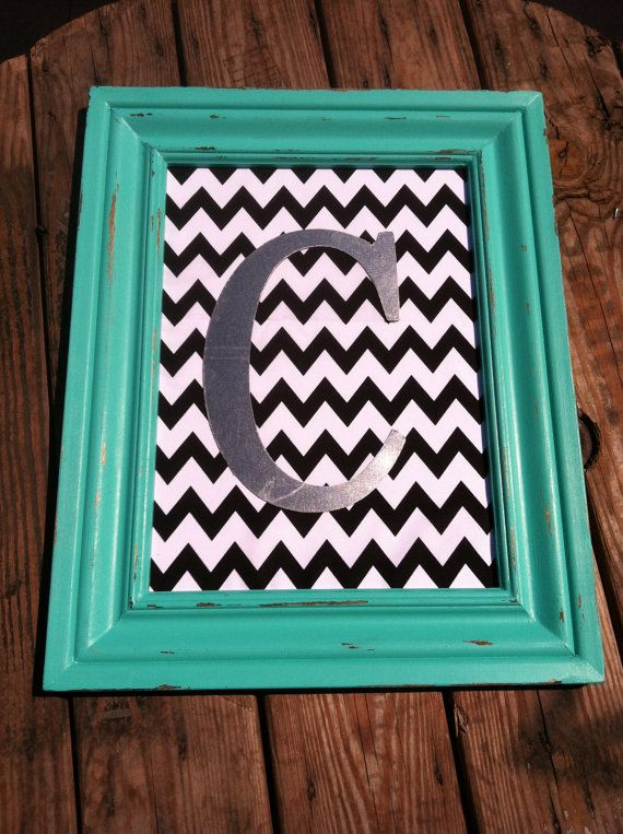 16x20 Teal Chevron Monogram Frame by DistressedBeautiful on Etsy, $65.00