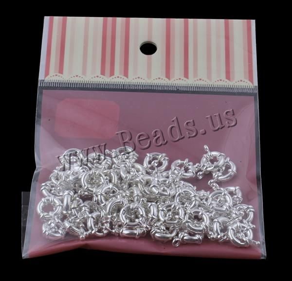 Brass Spring Ring Clasp, with OPP, silver color plated, single-strand, nickel, lead & cadmium free, 23x11x4mm, 100x170mm,china wholesale jewelry beads