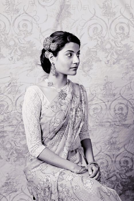Antique Indian hair accessories. The bun looks so sleek and classy.