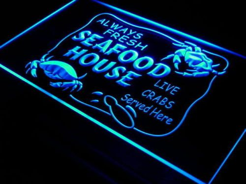 Seafood House Fresh Crabs Display Light Sign