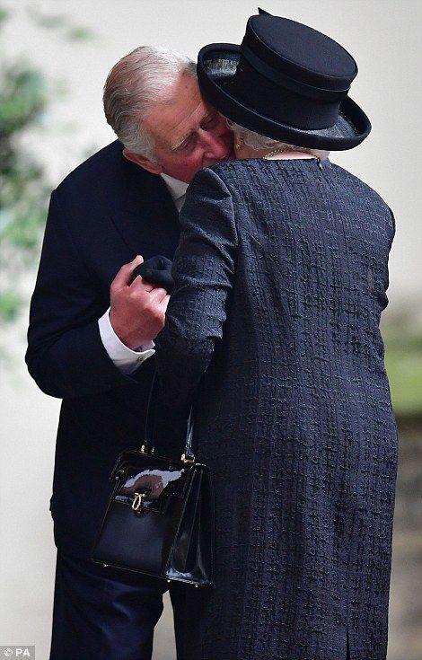 The Queen and Philip at the funeral of Countess Mountbatten of Burma #dailymail