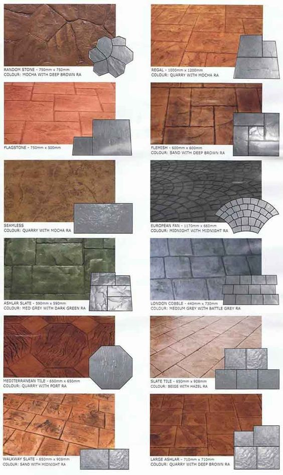 stamped concrete styles - love the random stone