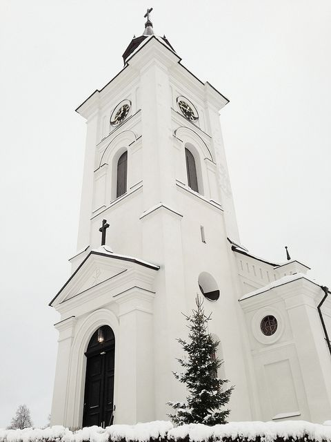 Snow in Lima Church, Sweden