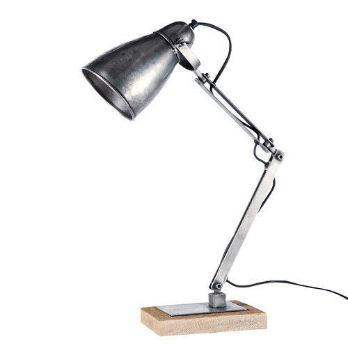 Gelenk-Schreibtischlampe im Industry-Stil PHILADELPHIA aus Metall und Holz, H…