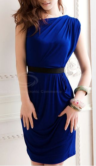 Slant Shoulder Ruffle Blue Dress <3