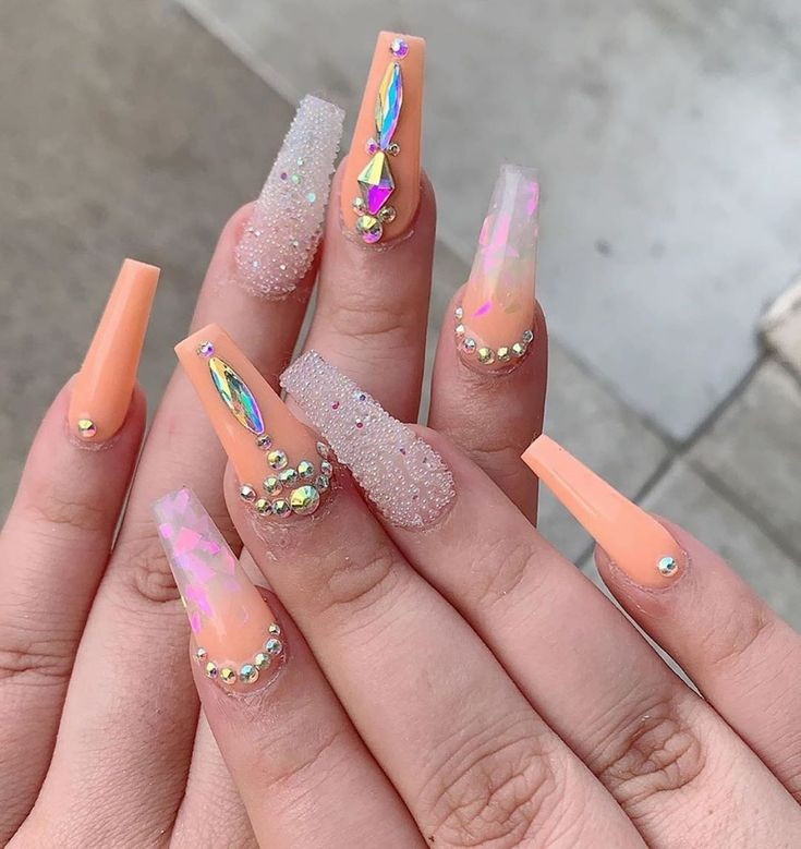 Pin by dior glamour on CLAW$ | Long acrylic nails coffin, Gem nails, Long acrylic nails