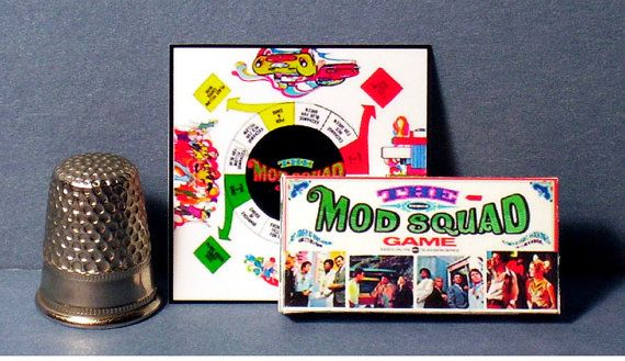 Mod Squad Game 1968 - Dollhouse Miniature  - 1:12 scale - Dollhouse accessory - Game Box and Game Board - 1960s mod Dollhouse game toy