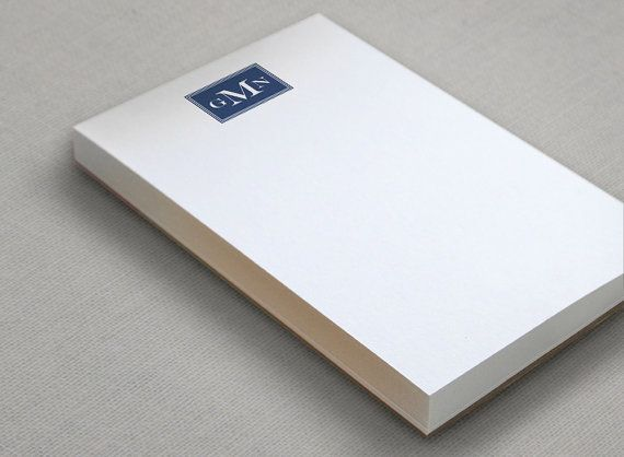"This masculine monogrammed note pad is the perfect size for jotting notes, making lists and more. Make a to-do list in style with this custom notepad. Personalized note pads are so handy and look amazing in your home or workspace... dad will also love this thoughtful fathers day gift! //// DETAILS //// • 1 thick notepad contains 100 sheets  • 4"" wide x 6"" tall  • Glued at the top and backed with heavy chipboard  • Digitally printed on a rich and heavy 1..."