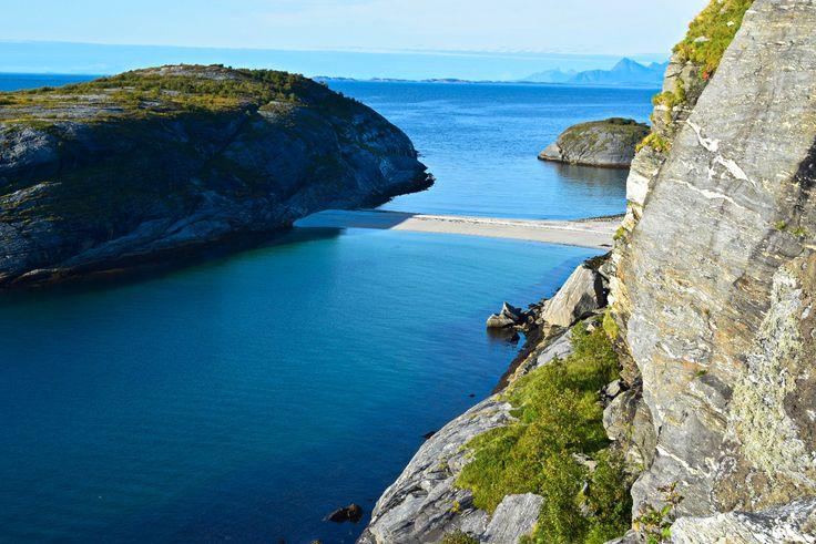 Hiking towards Hovdsundet beach in Norway