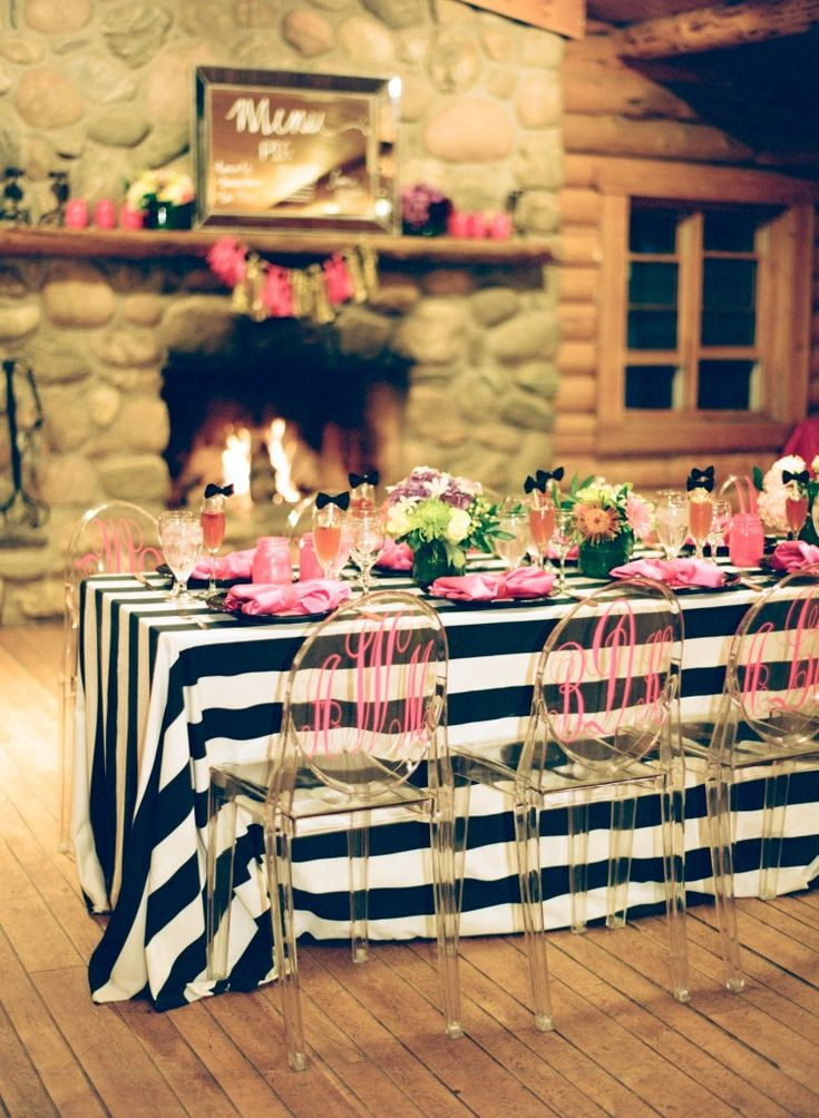Kate Spade Dinner Party with monogrammed ghost chairs   Reign Magazine