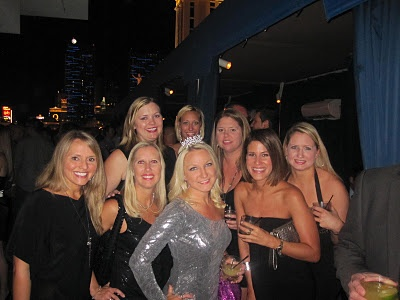 Bachelorette Idea: Girls wear LBD's and Bride wears sparkly dress in bright color...