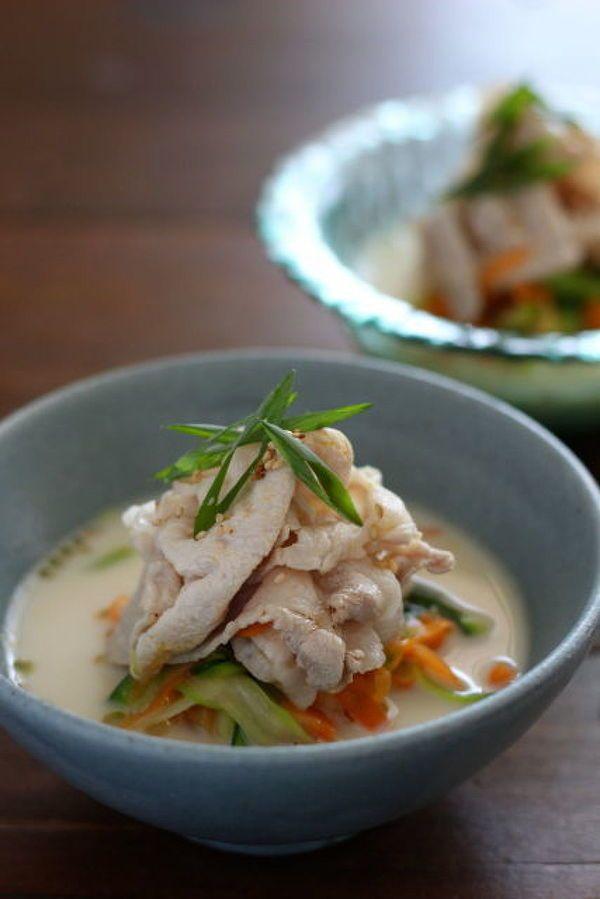 ベジヌードルと豚しゃぶの豆乳味噌スープ。 by 小澤 朋子   レシピ ...