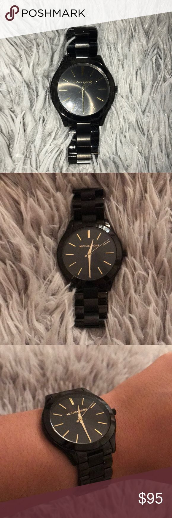 Black Michael Kors Watch Gorgeous Black MK watch goes with everything. Don't have extra links but fits size small-medium wrist. Michael Kors Other