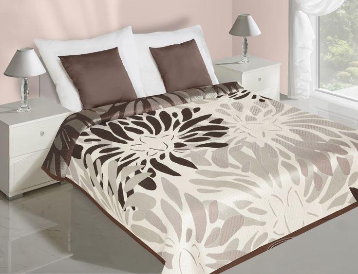 Oboustranné přehozy na postel květované krémově hnědé barvy