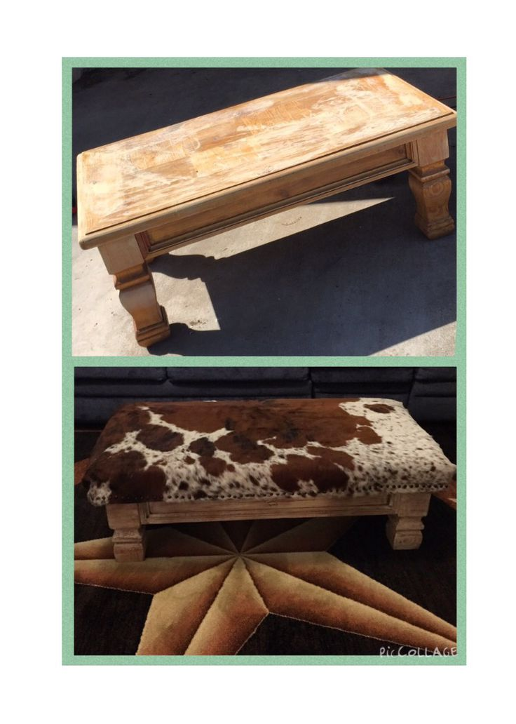 Old coffee table made into a beautiful rustic ottoman with a cowhide!