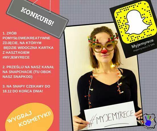 Zapraszamy do wzięcia udziału w naszym snapchatowym konkursie! Powodzenia :) #myjemyrece #calapolskamyjerece