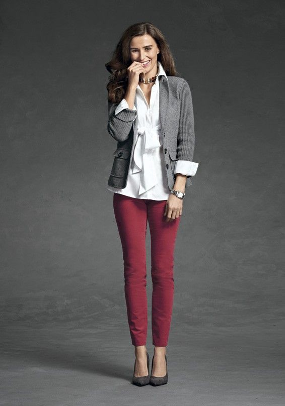 A Perfect Union - 6 - CAbi Fall 2012 Collection- I like these red pants with the grey...not crazy about the white shirt