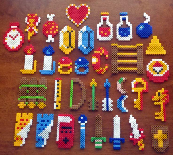Legend of Zelda perler bead Items Galore by XinMyForehead on deviantart