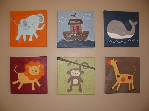 SET OF 6: Ark Animals by Kids Line, animal nursery paintings, personalized 10 x 10 on Etsy, $228.89 CAD