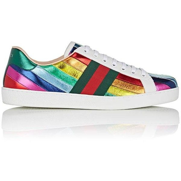Gucci Men's New Ace Leather Sneakers ($620) ❤ liked on Polyvore featuring men's fashion, men's shoes, men's sneakers, multi, mens metallic gold sneakers, mens sneakers, mens round toe dress shoes, mens leather sneakers and gucci mens sneakers