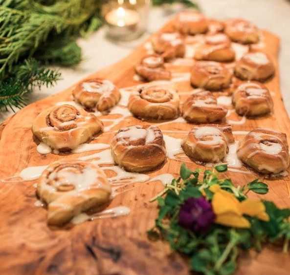 Homemade cinnamon buns with cream cheese drizzle. #catering #foodies