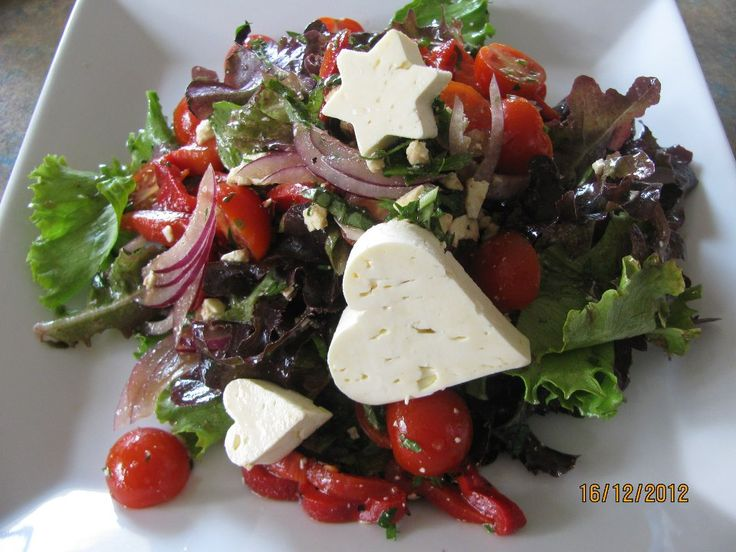 Goat Feta cheese garden salad for MH lunch