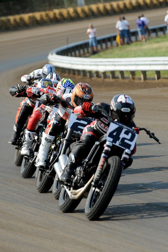 Flat Track racing, Springfield IL. I saw 42 take second last night, 10/12/13, at Pomona Fairplex, from the AMA Pro Flat Track Finals.