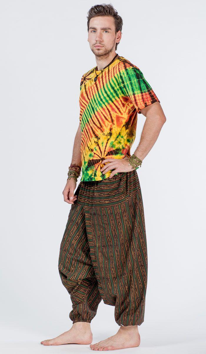 Тайская мужская футболка с принтом тай-дай, tie-dye man's T-shirt. 1420 рублей