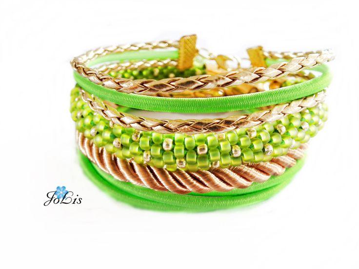 Set of green bracelets. Set of 4 bracelets. Crochet Rope Beaded. Green bracelets. Birthstone bracelet august. Birthday gift Peridot by MadeByJoLis on Etsy