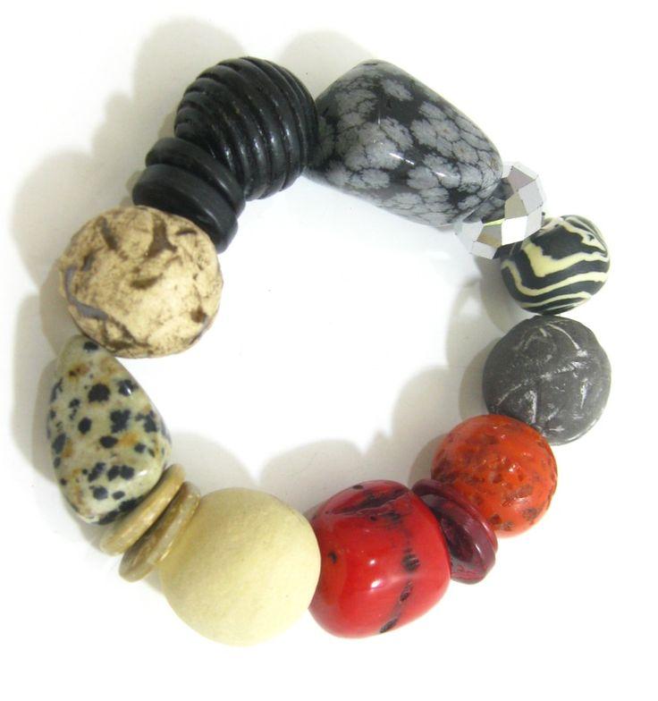 Black and Red Ceramic & Stone Bracelet Semi-precious stone and handmade ceramic beads. www.marzipan.co.za