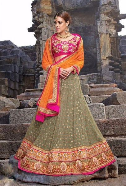 LEHENGHA: Pure fancy silk BLOUSE : Silk fab (Unstiched) DUPATTA: Pure naylone net COLOR:Green and pink SHIPPING