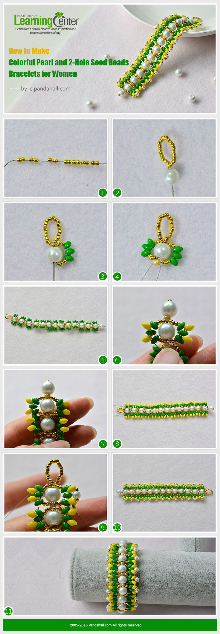 How to Make Colorful Pearl and 2-Hole Seed Beads Bracelets for Women from LC.Pandahall.com