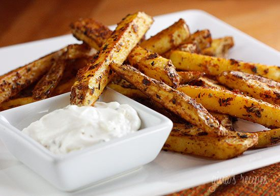Baked Seasoned Fries with Skinny Garlic Aioli - Low fat, crispy fries baked in your oven. A quick, inexpensive and easy side dish your whole family will love. Keep the skin on the potatoes for added fiber.