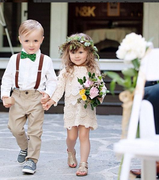 Super cute boho page boy and flower girl outfits!