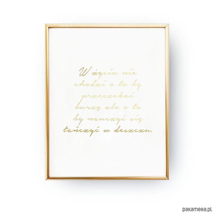 dodatki - plakaty, ilustracje, obrazy - grafika-Taniec w deszczu, Złota typografia